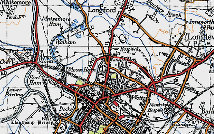 Old map of Alney Island in 1947