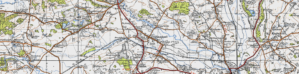 Old map of Kingsland in 1947
