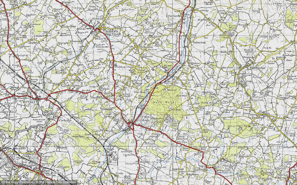 Old Map of Historic Map covering Woodend in 1945