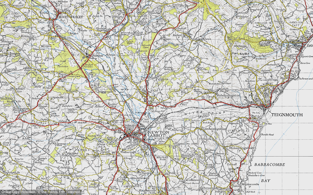 Old Map of Historic Map covering Lindridge Hill in 1946