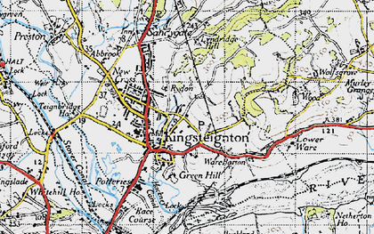 Old map of Kingsteignton in 1946