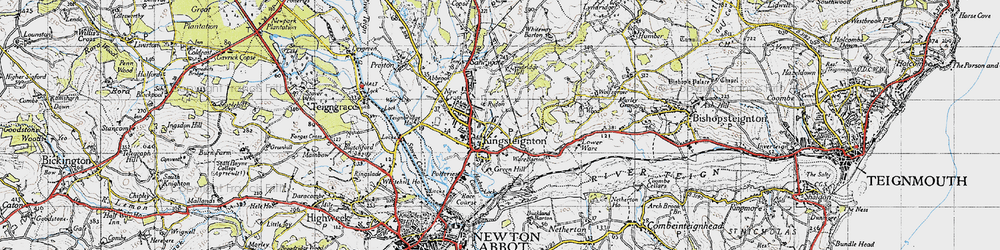 Old map of Lindridge Hill in 1946