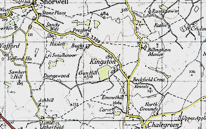 Old map of Kingston in 1945