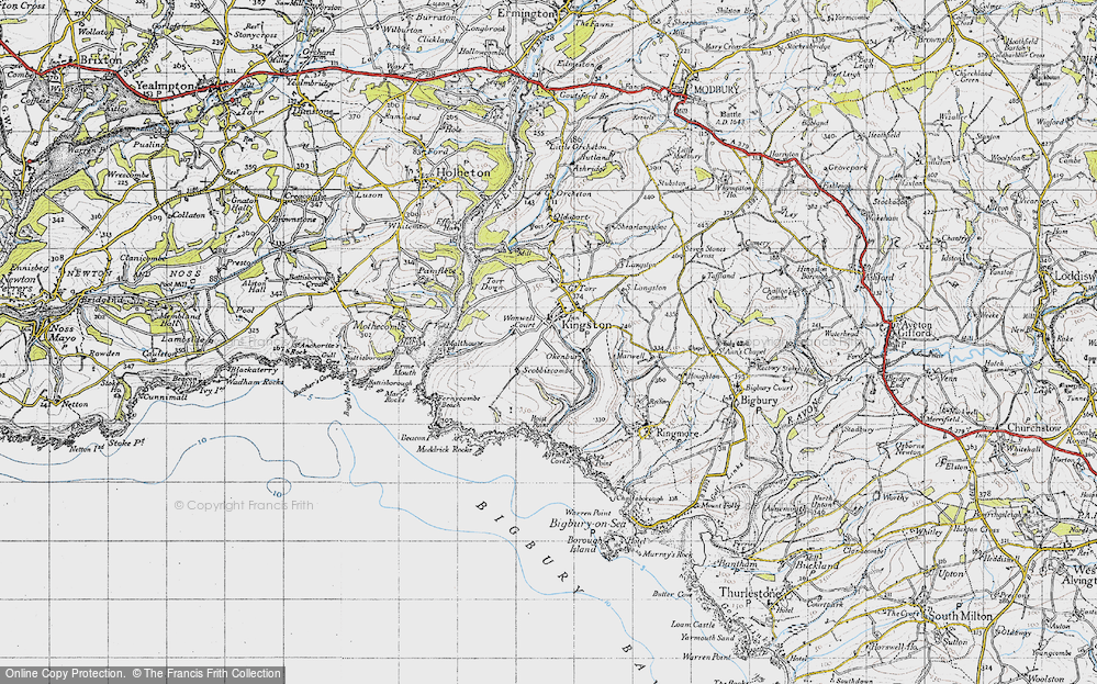 Old Map of Historic Map covering Ayrmer Cove in 1946