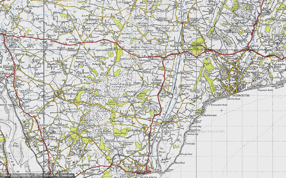 Old Map of Historic Map covering Baker's Brake in 1946