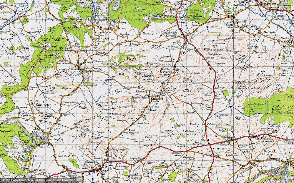 Old Map of Historic Map covering Woodcombe Bottom in 1946