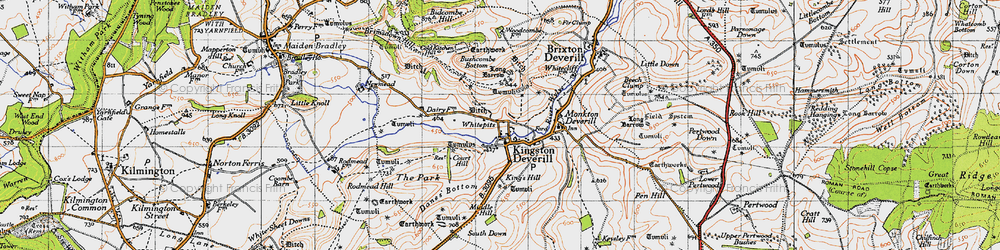 Old map of Whitecliff Down in 1946