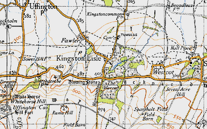 Old map of Kingston Lisle in 1947