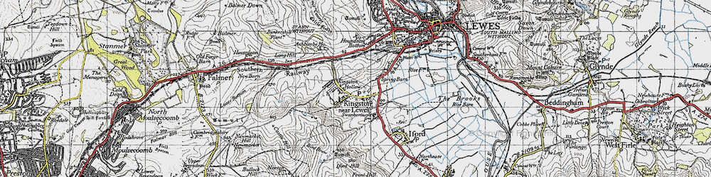 Old map of Kingston near Lewes in 1940