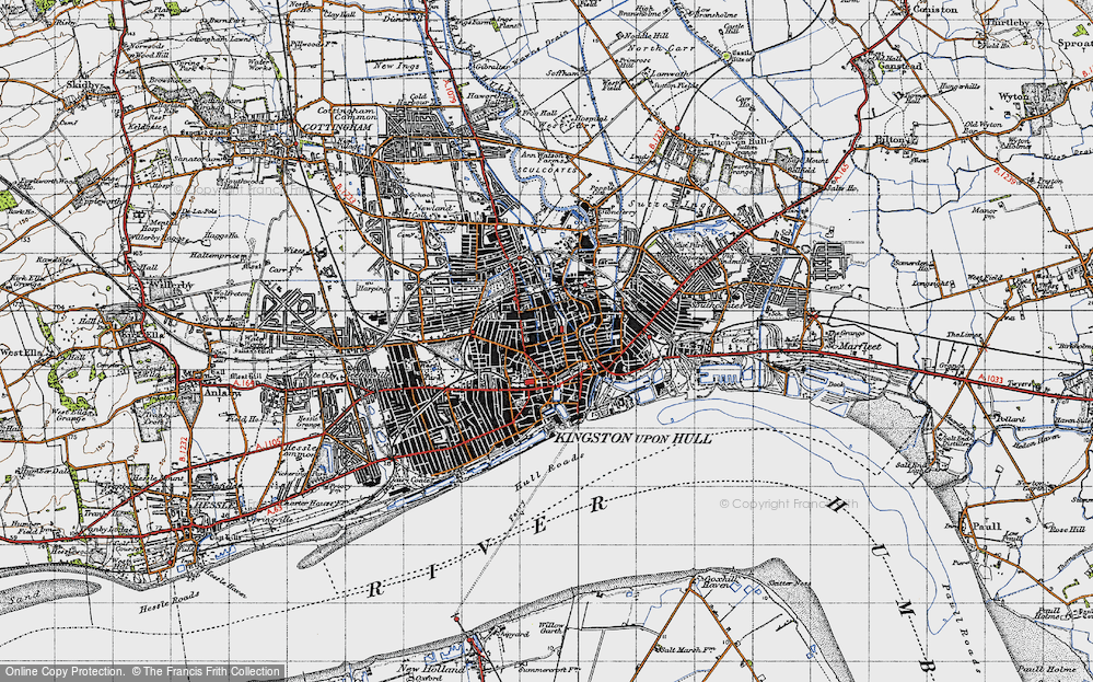Old Map of Kingston upon Hull, 1947 in 1947