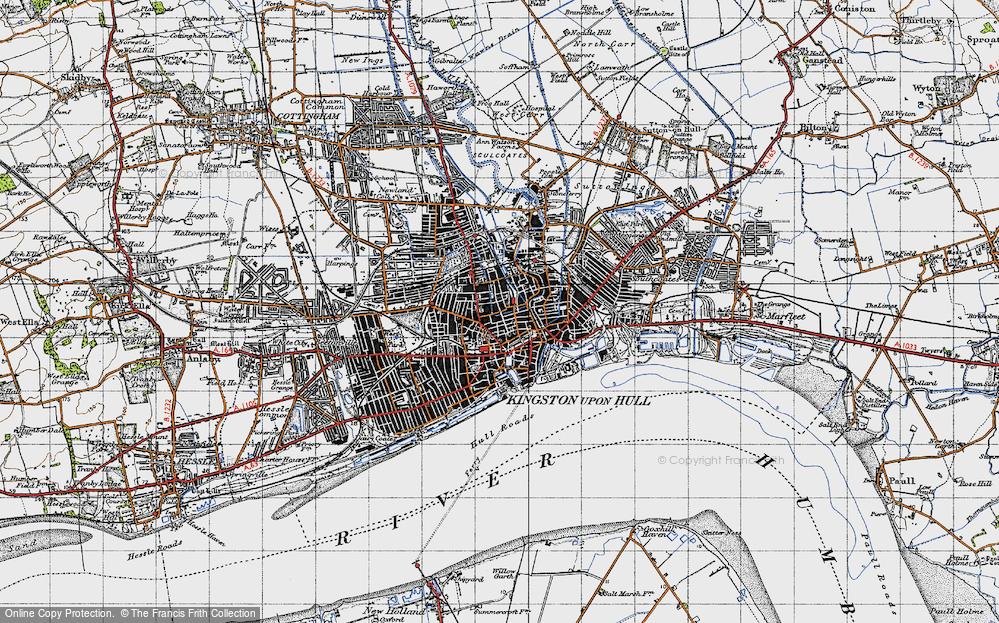 Map of Kingston upon Hull 1947 Francis Frith