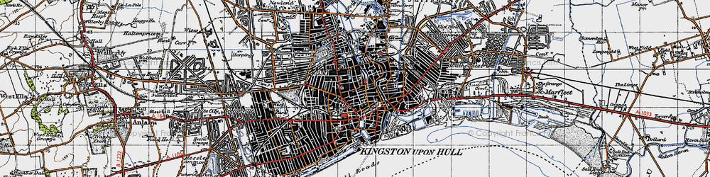 Old map of Kingston upon Hull in 1947