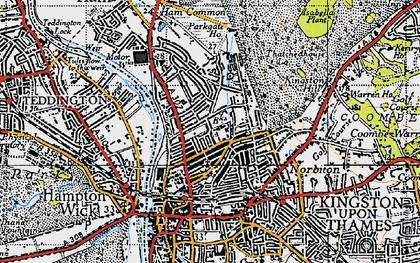 Old map of Kingston Upon Thames in 1945
