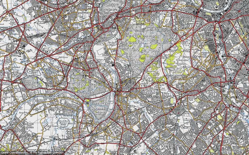 Map of Kingston Upon Thames 1945 Francis Frith