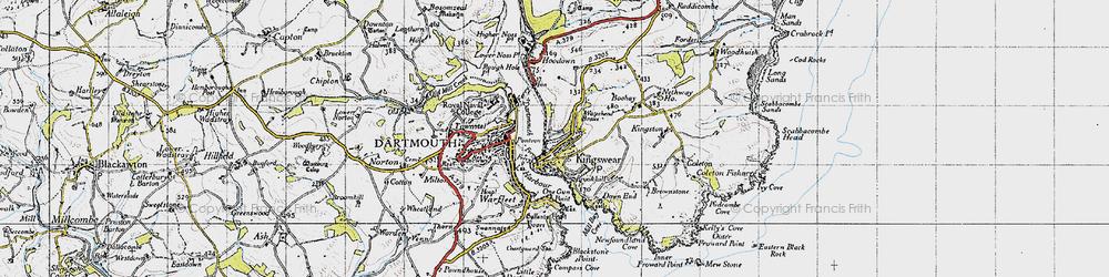 Old map of Kingswear in 1946
