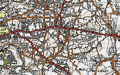 Old map of Kingswood in 1946