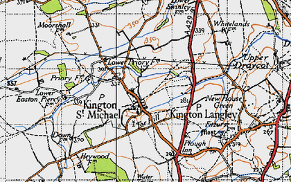 Old map of Kington St Michael in 1946