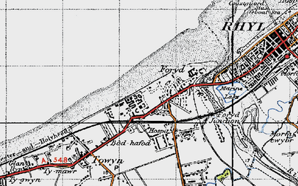 Old map of Kinmel Bay in 1947