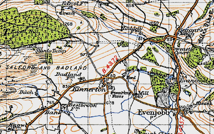 Old map of Bache Hill in 1947