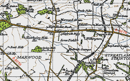 Old map of Langley Beck in 1947