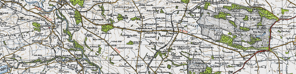 Old map of Woolly Hill in 1947