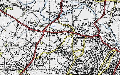 Old map of Kinson in 1940