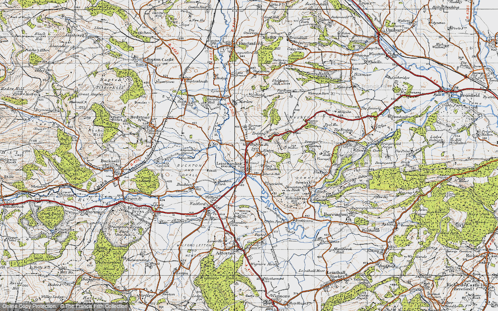 Old Map of Historic Map covering Leintwardine Manor in 1947