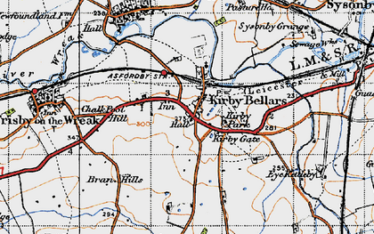 Old map of Kirby Bellars in 1946