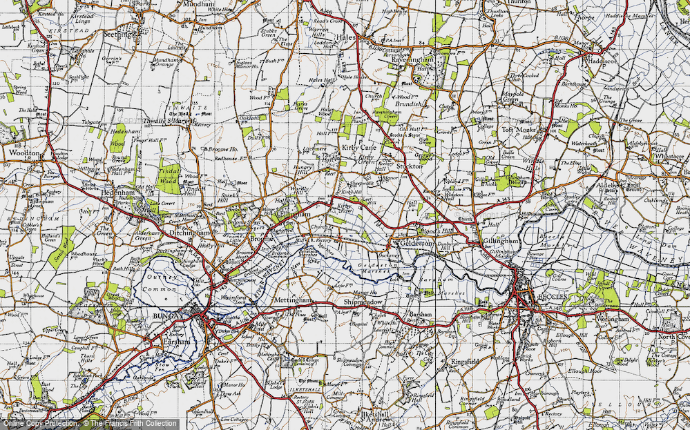 Old Map of Historic Map covering Leet Hill in 1946