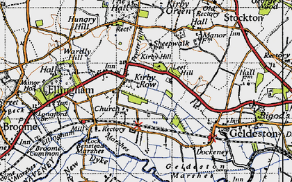 Old map of Leet Hill in 1946