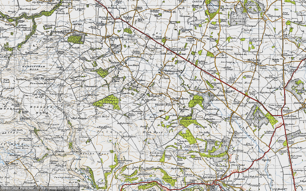 Old Map of Historic Map covering Aske Moor in 1947