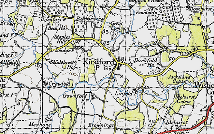 Old map of Barkfold Manor in 1940