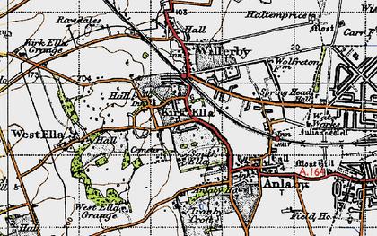 Old map of Kirk Ella in 1947