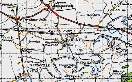 Old map of Kirk Hammerton in 1947