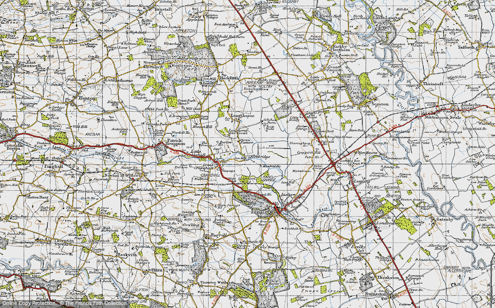 Old Map of Historic Map covering Langthorn Wood in 1947