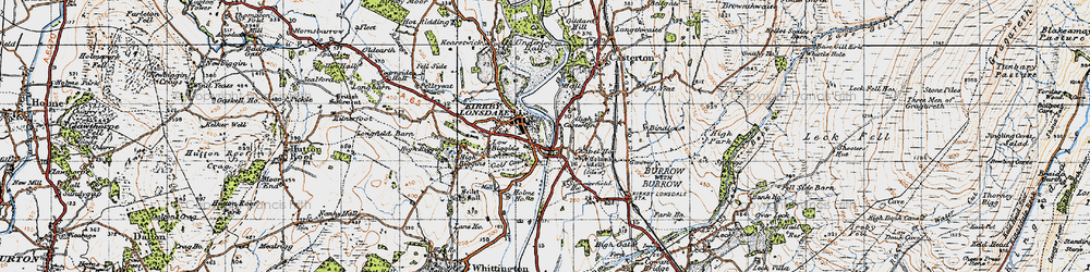 Old map of Kirkby Lonsdale in 1947