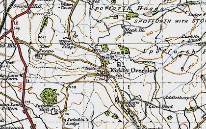 Old map of Kirkby Overblow in 1947