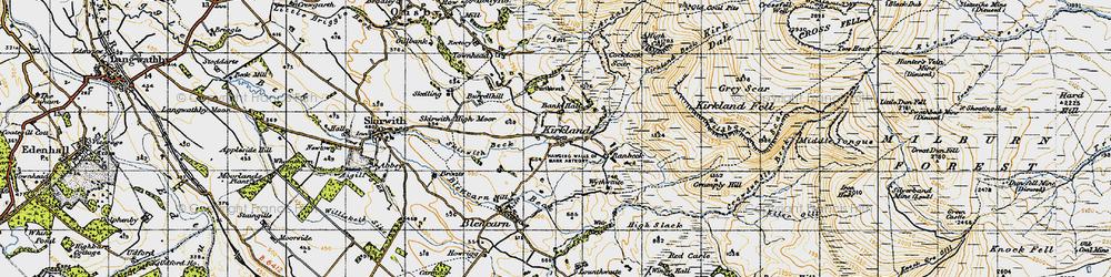 Old map of Wildboar Scar in 1947