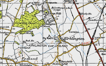 Old map of Kirklington in 1947