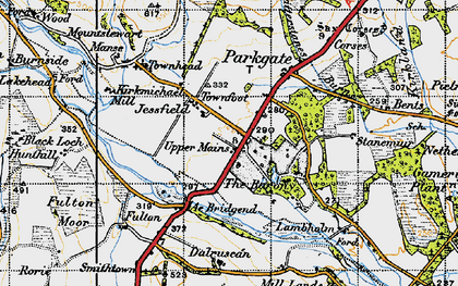 Old map of Ae Bridgend in 1947