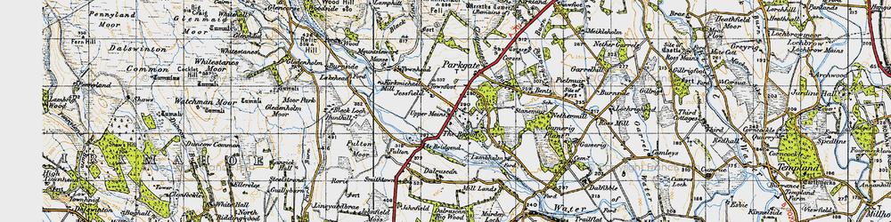Old map of Ae Bridgend in 1947