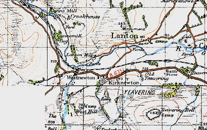 Old map of Yeavering Bell in 1947