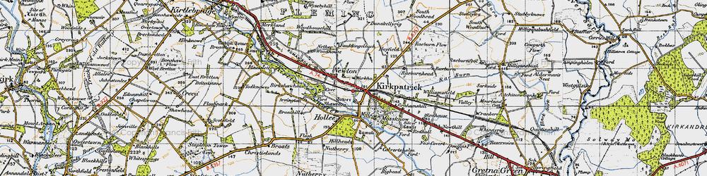 Old map of Kirkpatrick-Fleming in 1947