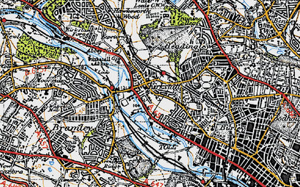 Old map of Kirkstall in 1947