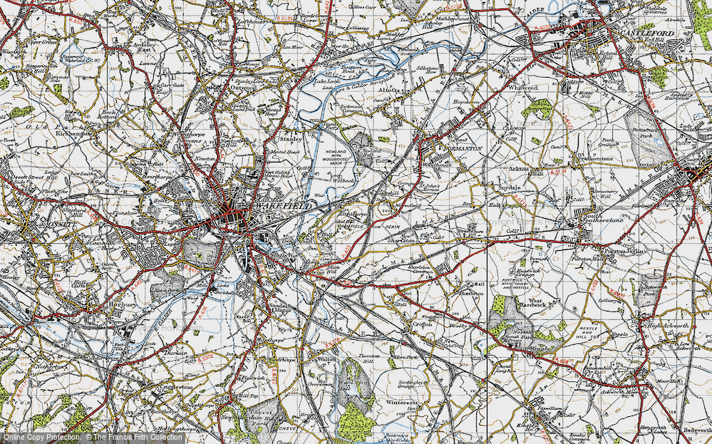 Old Map of Historic Map covering Heath in 1947