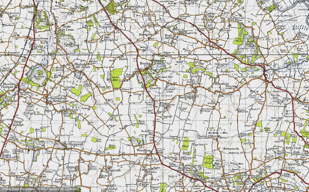Old Map of Kirstead Green, 1946 in 1946