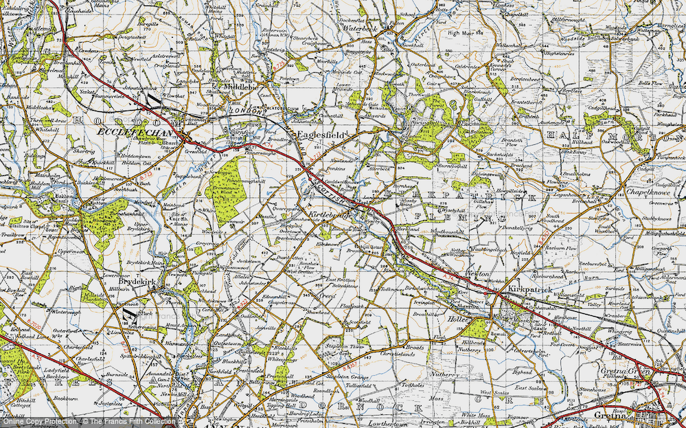 Old Map of Historic Map covering Langshaw Ho in 1947