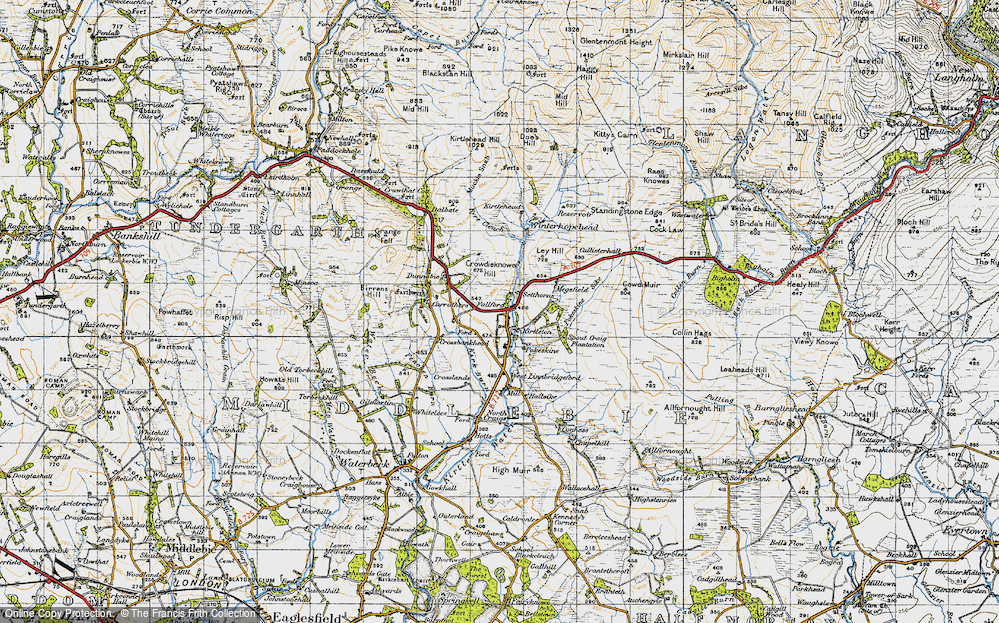 Old Map of Historic Map covering Lauriesclose in 1947