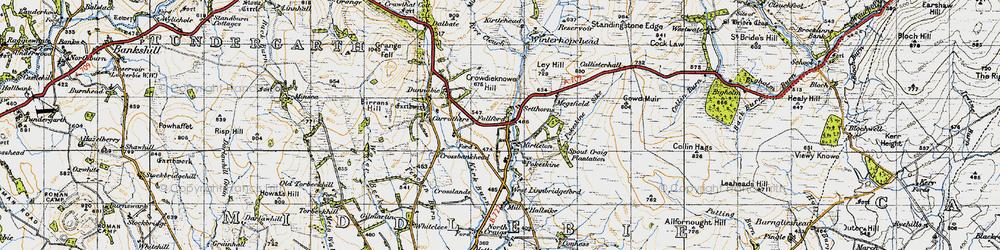 Old map of Winterhope Reservoir in 1947