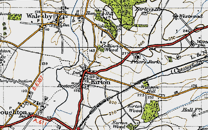 Old map of Laxton Common in 1947